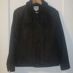 Distressed Black Sherpa Lined Jean Jacket